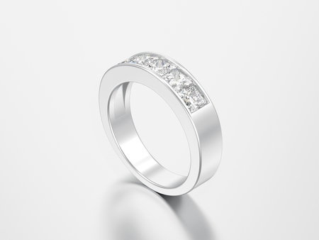 3D illustration simple classic white gold or silver diamond ring on a grey background Standard-Bild