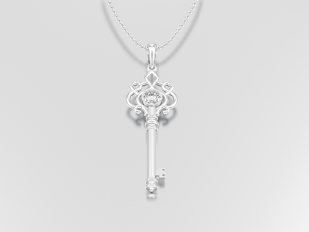 3D illustration white gold or silver decorative key necklace on chain with diamond on a grey background