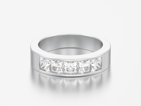 3D illustration simple classic white gold or silver diamond ring on a grey background Фото со стока