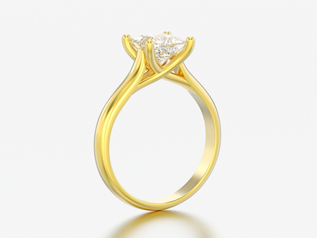 3D illustration yellow gold engagement illusion twisted ring with diamond on a gray background Фото со стока