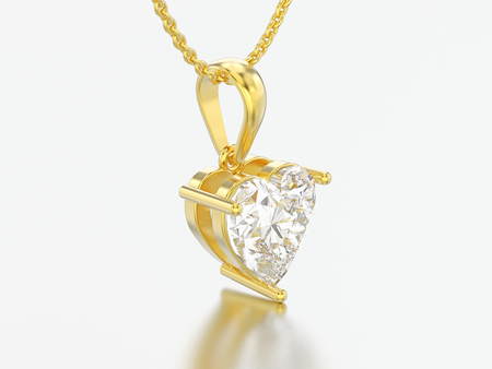 3D illustration yellow gold big heart diamond necklace on chain on a grey background