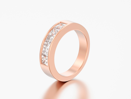 3D illustration simple classic red rose gold diamond ring on a grey background