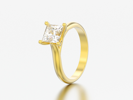 3D illustration yellow gold engagement illusion twisted ring with diamond on a gray background Zdjęcie Seryjne