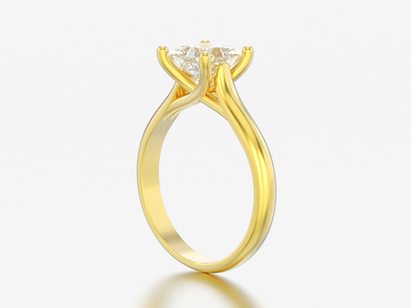 3D illustration yellow gold engagement illusion twisted ring with diamond on a gray background Standard-Bild
