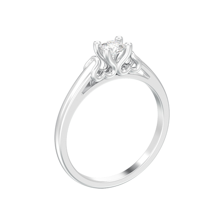 3D illustration isolated white gold or silver solitaire wedding diamond ring with heart prongs on a white background Фото со стока