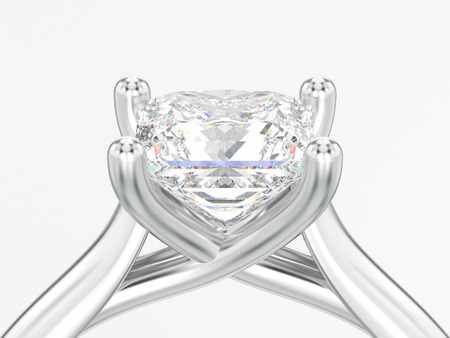 3D illustration close up white gold or silver engagement illusion twisted ring with diamond on a gray background