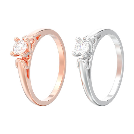 3D illustration two isolated rose and white gold or silver solitaire wedding diamond rings with heart prongs on a white background