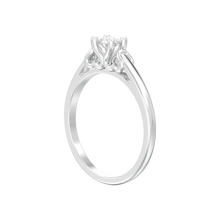 3D illustration isolated white gold or silver solitaire wedding diamond ring with heart prongs on a white background Zdjęcie Seryjne