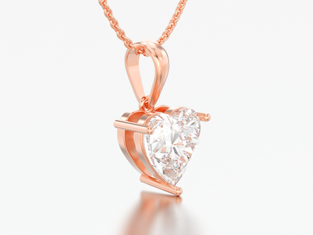 3D illustration red rose gold big heart diamond necklace on chain on a grey background