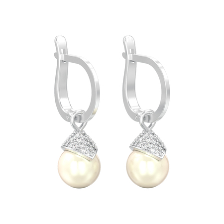 3D illustration isolated white gold or silver pearl diamond earrings with hinged lock on a white background Фото со стока