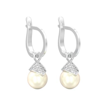 3D-Illustration isolierte Weißgold- oder Silberperlen-Diamantohrringe mit Scharnierschloss auf weißem Hintergrund