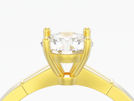 3D illustration close up yellow gold traditional solitaire engagement diamond ring on a grey background Standard-Bild