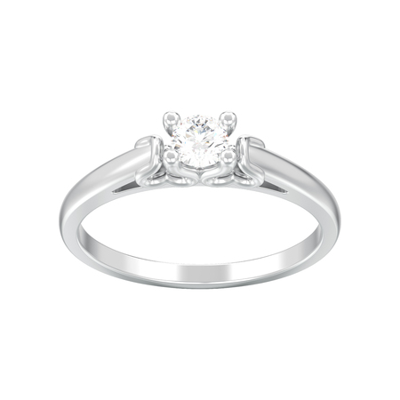 3D illustration isolated white gold or silver solitaire wedding diamond ring with heart prongs on a white background Standard-Bild
