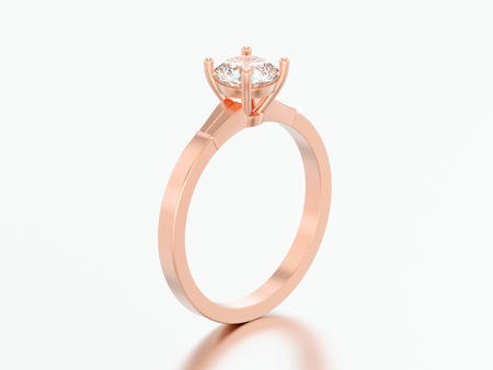 3D illustration red rose gold traditional solitaire engagement diamond ring on a grey background