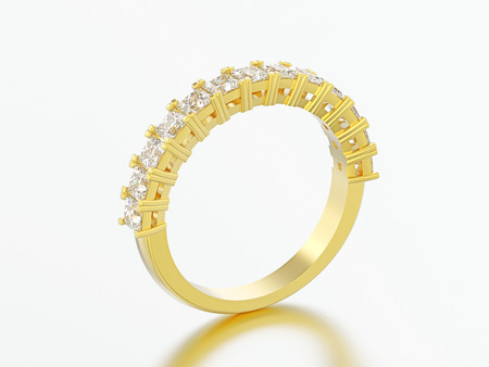3D illustration yellow gold eternity band diamond ring on a grey background Фото со стока