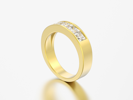 3D illustration simple classic yellow gold diamond ring on a grey background