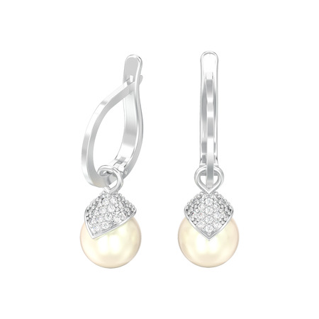 3D illustration isolated white gold or silver pearl diamond earrings with hinged lock on a white background Zdjęcie Seryjne