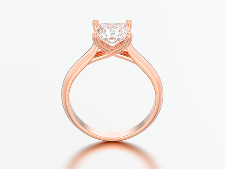 3D illustration red rose gold engagement illusion twisted ring with diamond on a gray background Standard-Bild