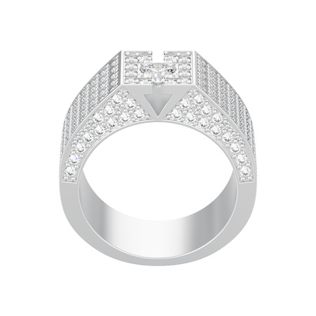 3D illustration isolated white gold or silver diamond signet ring on a white background