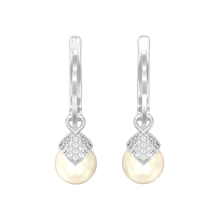 3D illustration isolated white gold or silver pearl diamond earrings with hinged lock on a white background Standard-Bild