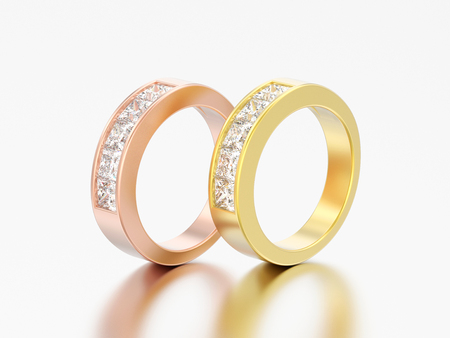 3D illustration two simple classic yellow and rose gold diamond rings on a grey background