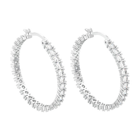 3D illustration isolated white gold or silver decorative diamond earrings with hinged lock on a white background