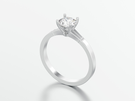 3D illustration white gold or silver traditional solitaire engagement diamond ring on a grey background