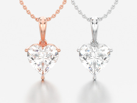 3D illustration two rose and white gold or silver big heart diamond necklaces on chains on a grey background