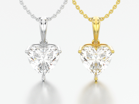 3D illustration two yellow and white gold or silver big heart diamond necklaces on chains on a grey background Zdjęcie Seryjne