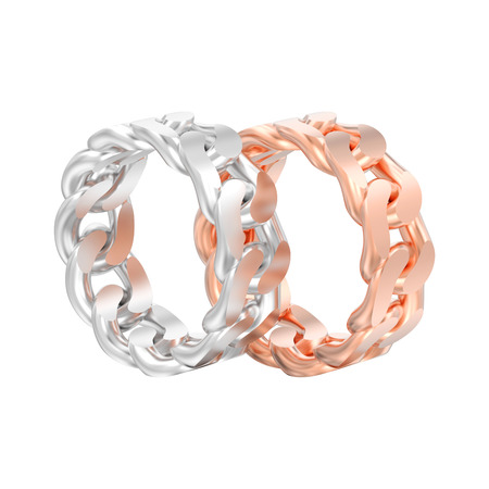 3D illustration isolated two red rose and white gold or silver decorative chain rings on a white background