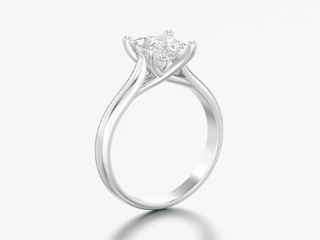 3D illustration white gold or silver engagement illusion twisted ring with diamond on a gray background Zdjęcie Seryjne