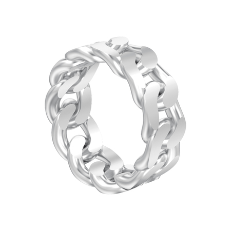 3D illustration isolated white gold or silver decorative chain ring on a white background Zdjęcie Seryjne