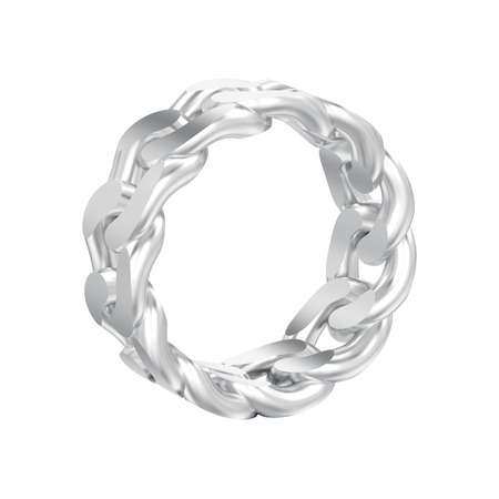 3D illustration isolated white gold or silver decorative chain ring on a white background Фото со стока