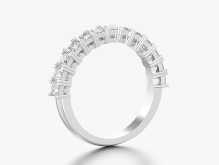 3D illustration white gold or silver eternity band diamond ring on a grey background