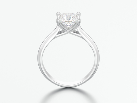 3D illustration white gold or silver engagement illusion twisted ring with diamond on a gray background Фото со стока