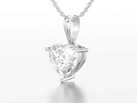 3D illustration white gold or silver big heart diamond necklace on chain on a grey background