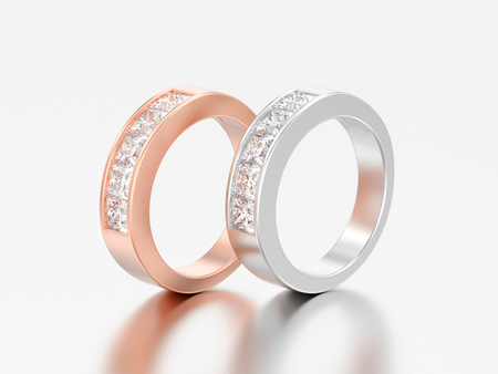 3D illustration two simple classic rose and white gold or silver diamond rings on a grey background
