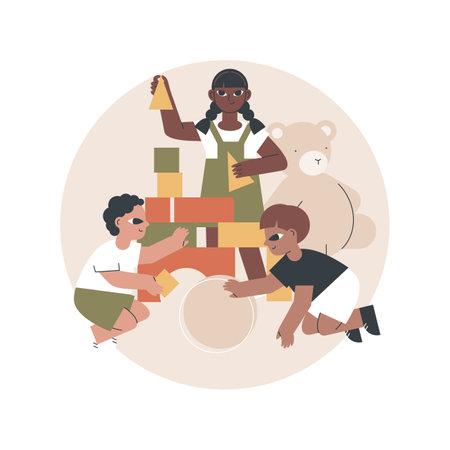 Montessori preschool abstract concept vector illustration. Vecteurs