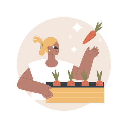 Growing vegetables abstract concept vector illustration.