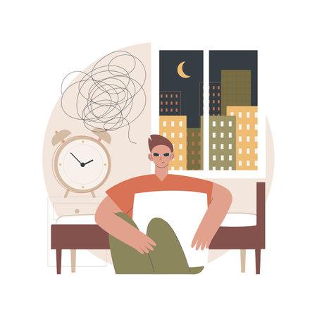 Sleep disturbances abstract concept vector illustration.