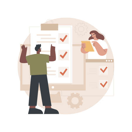 Online survey abstract concept vector illustration.