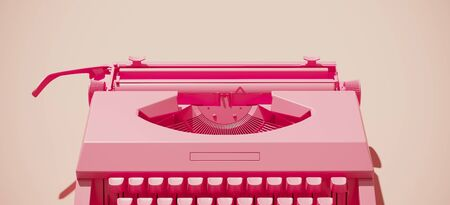 Minimal composition for social media and workplace concept. Pink vintage typewriter machine on pastel background. 3d rendering illustration.