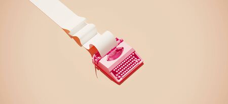 Minimal composition for social media and workplace concept. Pink vintage typewriter machine and paper roll on pastel background. 3d rendering illustration. 版權商用圖片