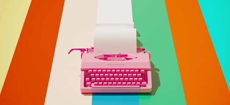 Minimal composition for social media and workplace concept. Pink vintage typewriter machine and paper roll on colorful background. 3d rendering illustration. 版權商用圖片