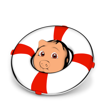lifebelt: Piggy bank with lifebelt
