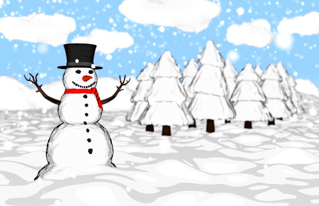 cilinder: Snowman in the forest Stock Photo