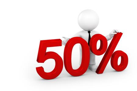 50: 50 percent Stock Photo