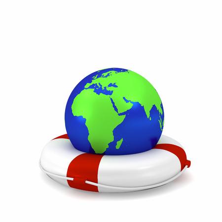 exploit: Globe with lifebuoy