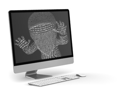 hijacked: infected PC Stock Photo