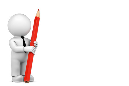 sparingly: keep red pencil Stock Photo